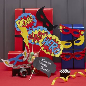 Superhero Photobooth Party Props - pack contains 10 different props & masks